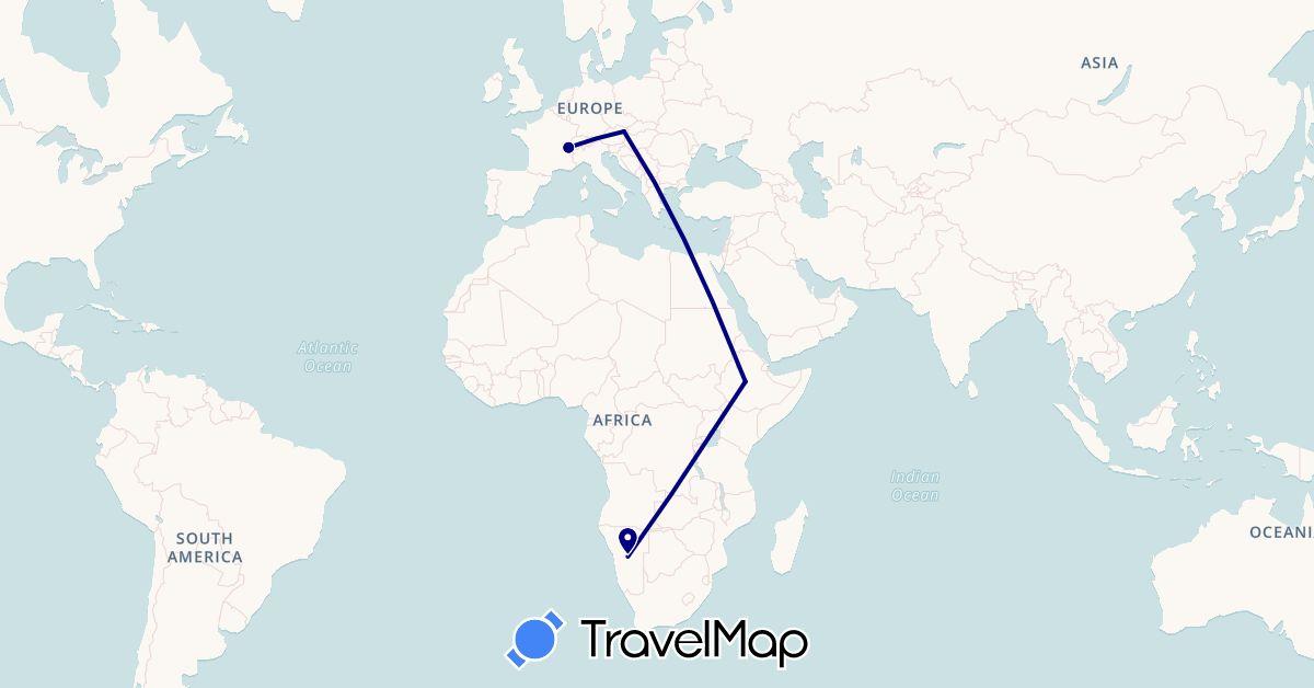 TravelMap itinerary: driving in Austria, Switzerland, Ethiopia, Namibia (Africa, Europe)